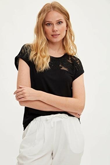 DeFacto Kısa Kollu T-shirt Siyah